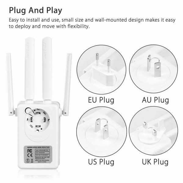 300Mbps Router WIFI Repeater Signal Amplifier Plug With Antenna Portable Network Range Extender Booster Home Office High Speed