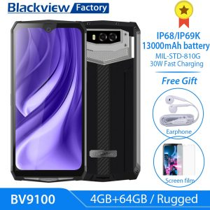 Blackview BV9100 Android 9.0 Phone 13000mAh Battery 30W Fast Charge 6.3″ Screen Smartphone MT6765 Octa Core IP68 Rugged 4GB 64GB