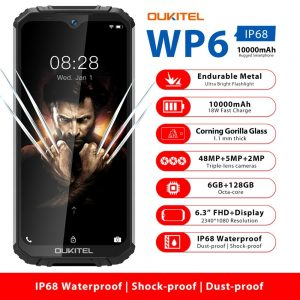 OUKITEL WP6 6.3″ Mobile Phone IP68 Rugged Waterproof Smartphone MT6771T 6GB 128GB Octa Core 48MP Tri-Cameras Cellphone 10000mAh
