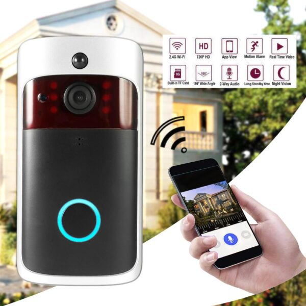 Smart Wireless WiFi Security DoorBell Visual Recording Consumption Remote Home Monitoring Night Vision Smart Video Door Phone 7