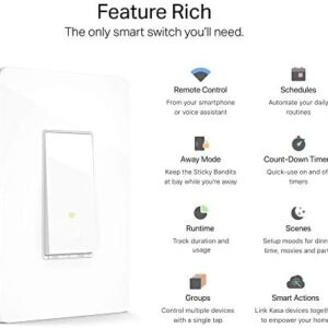 Kasa Smart Light Switch HS200, Single Pole, Needs Neutral Wire, 2.4GHz Wi-Fi Light Switch Works with Alexa and Google Home, UL Certified, No Hub Required , White Smart Home - Office